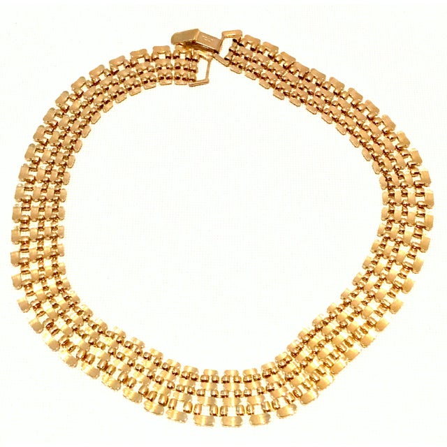Gold 20th Century Gold Plate Link Choker Style Necklace By, Napier For Sale - Image 8 of 11