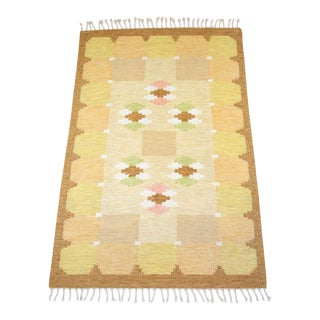 1950s Ingegerd Silow Scandinavian Flat Weave Rug - 4′5″ × 6′8″ For Sale