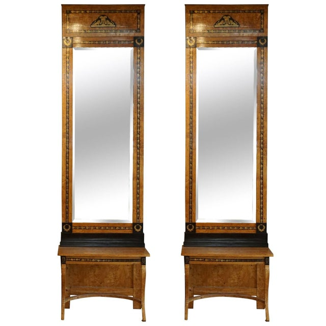 19th Century Russian Beechwood Mirrors With Consoles - a Pair For Sale In West Palm - Image 6 of 6