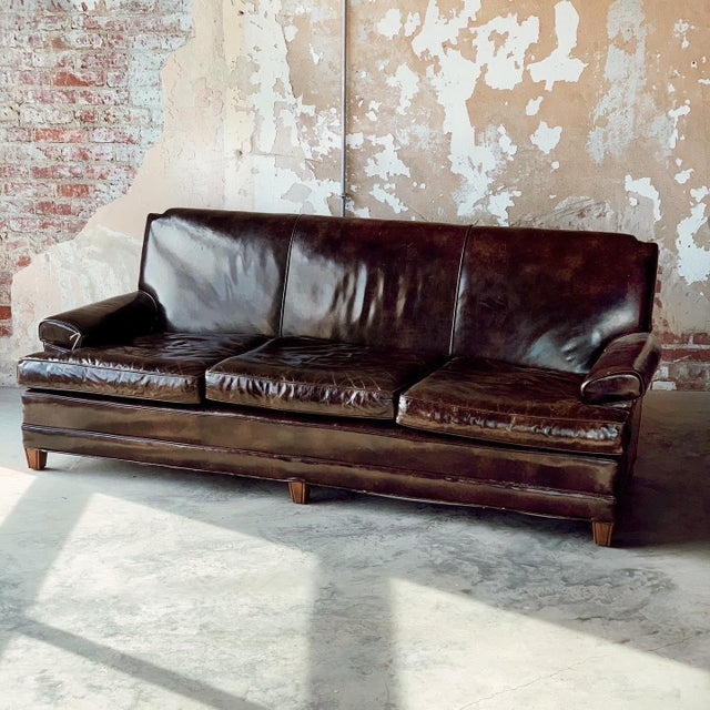 Leather Patent Leather Sofa For Sale - Image 7 of 8