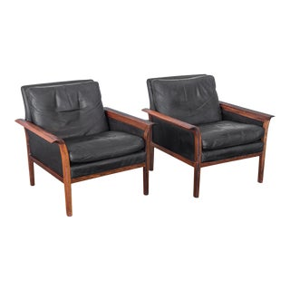 Hans Olsen Black Leather and Rosewood Lounge Chairs - a Pair For Sale