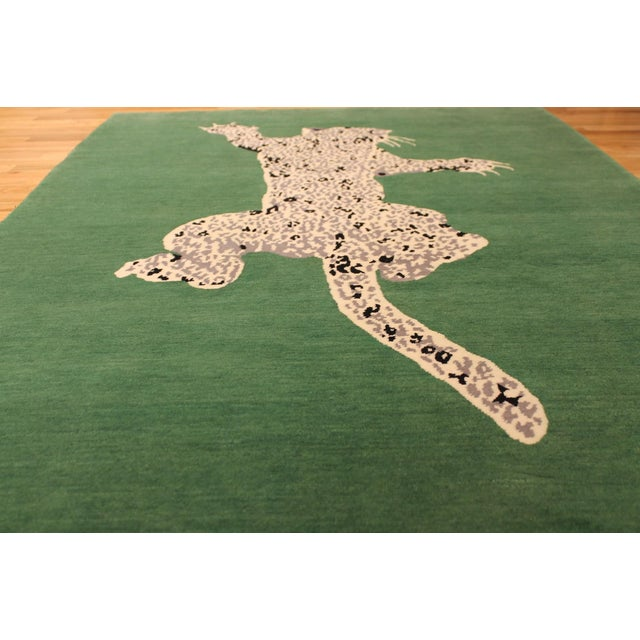 Green Gabeh Fine Leopard Hand Knotted Rug For Sale In Milwaukee - Image 6 of 8