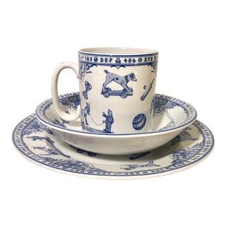 Vintage Spode Blue and White Edwardian Childhood Dish Set For Sale