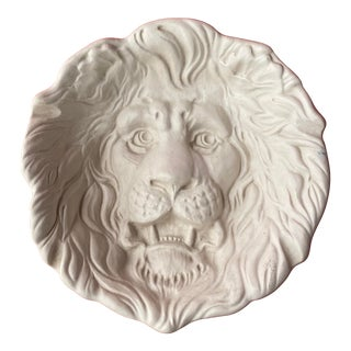 Haeger Lion Head Plate #2122 White Ecru Egg Shell Wall Art For Sale