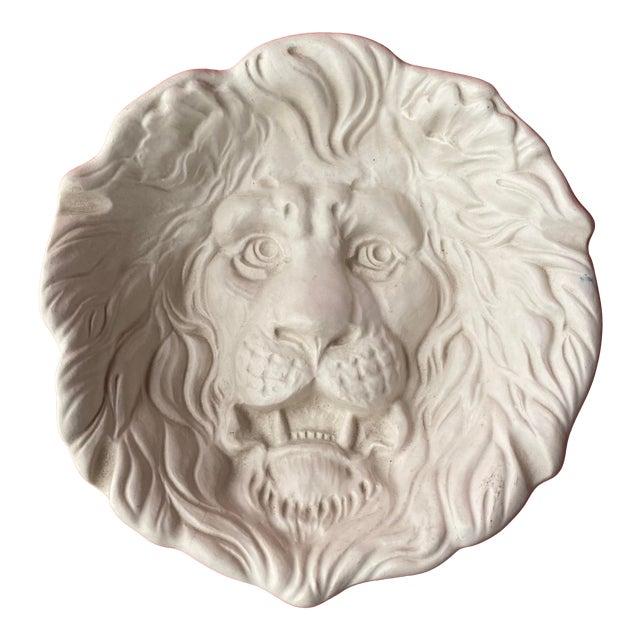Haeger Lion Head Plate #2122 White Ecru Egg Shell Wall Art For Sale