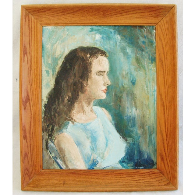 Mid-Century Lady in Blue Oil on Canvas Portrait - Image 2 of 8