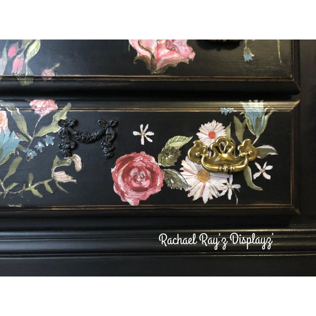 2010s Tall Midnight Floral Storage Dresser Chest With Pinstriped Siding and Faux Marbleized Top For Sale - Image 5 of 12