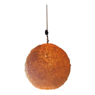 Mid Century Spun Lucite Orange Pendant Swag Hanging Fixture Lamp For Sale