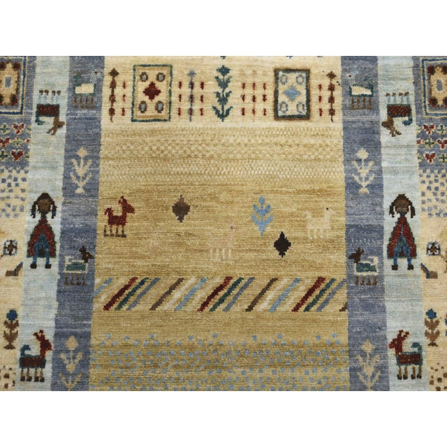 Islamic Denim Blue Kashkuli Gabbeh Pictorial Wool Hand-Knotted Runner For Sale - Image 3 of 7