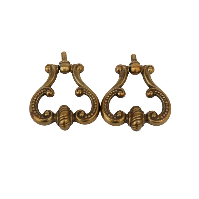 French Brass Drawer Pulls, a Pair For Sale In Tampa - Image 6 of 6