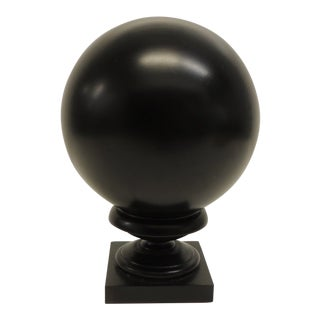 Decorative Ebonized Black Wood Vintage Sphere on Wood Stand For Sale