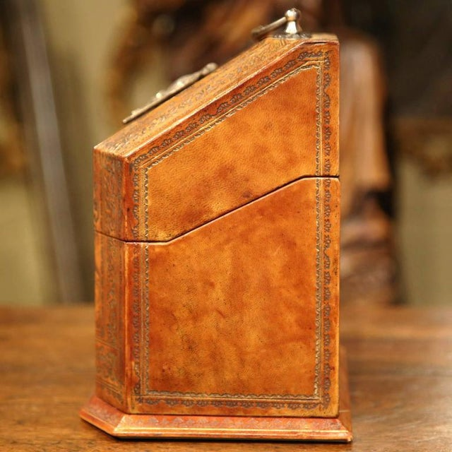 Metal Mid-20th Century Italian Leather & Tooling Letter Holder For Sale - Image 7 of 9