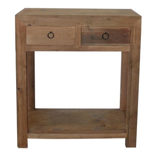 Vintage Reclaimed Wood Rustic 2 Drawer Chinese Console For Sale