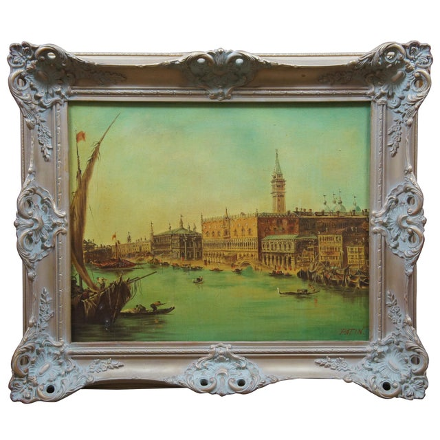 Vintage 20th Century Venice Italy Patin Impressionist Cityscape Oil Painting For Sale - Image 12 of 12