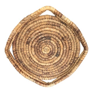 Antique French Handwoven Winnow Basket For Sale