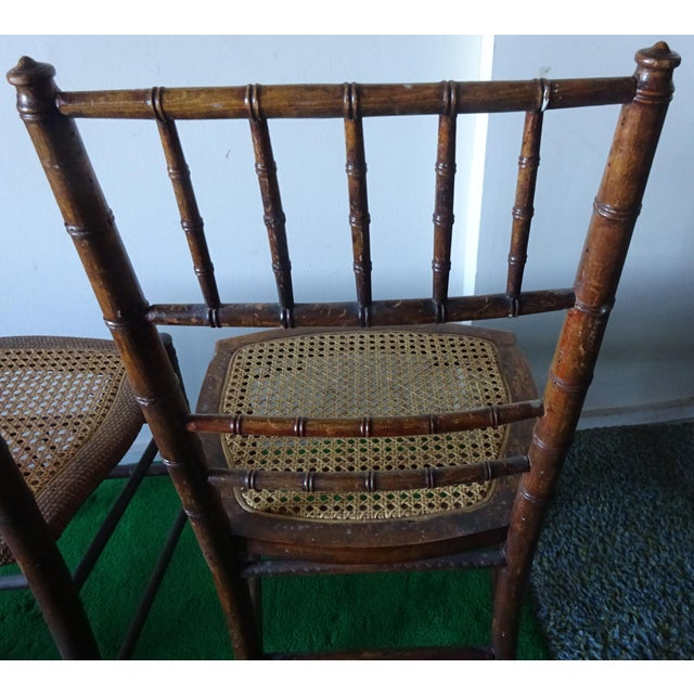 Late 19th Century Antique Faux Bamboo Side Chairs - Unmatched Pair For Sale In San Francisco - Image 6 of 7