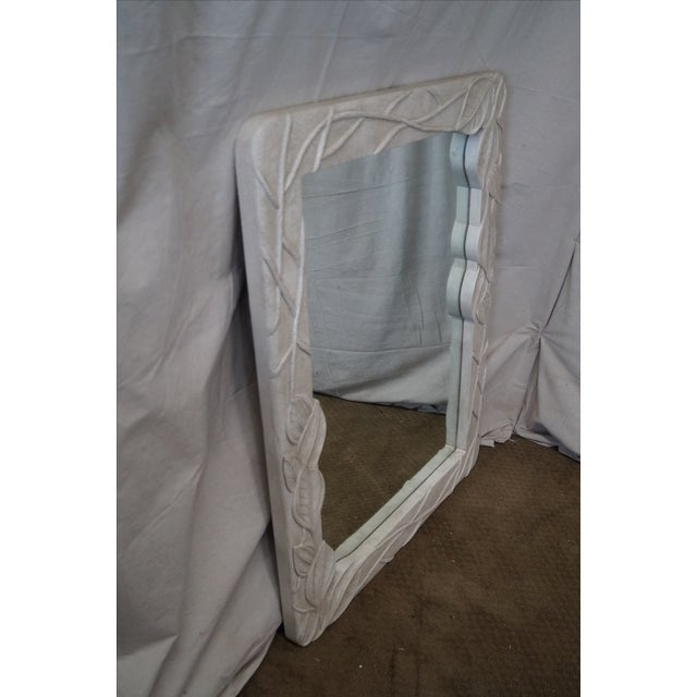 Mid-Century Art Nouveau Style Painted Carved Leaf Frame Mirror AGE/COUNTRY OF ORIGIN: Approx 30 years, America...