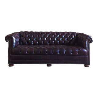 Modern Wine Colored Leather Chesterfield For Sale