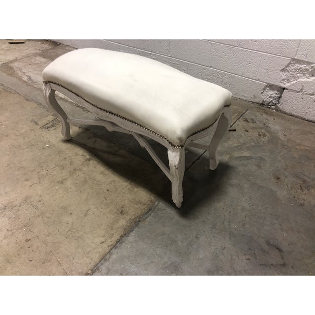 Solid Oak hand carved Louis XV Bench with cabriolet legs. Intricate floral carved details finished in a beautiful gray...