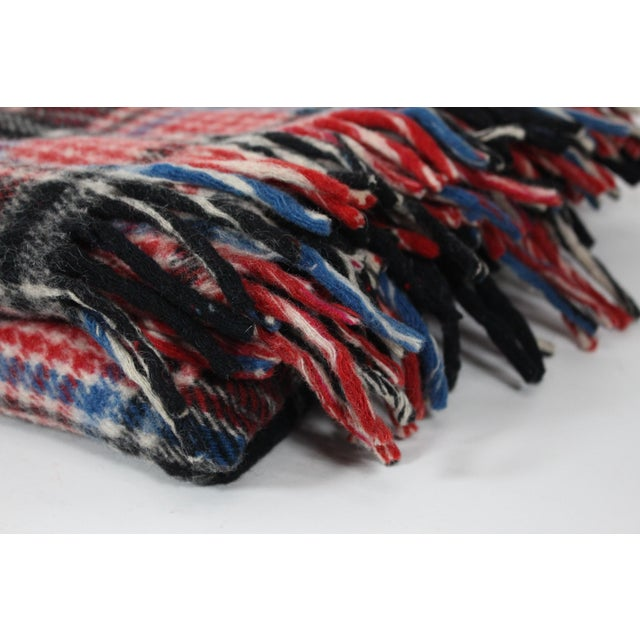 1970s 1970s Vintage Fringed Plaid Wool Camp Blanket For Sale - Image 5 of 6