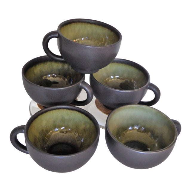 French Hand Made Mocha & Green Ceramic Cups - Set of 5 For Sale