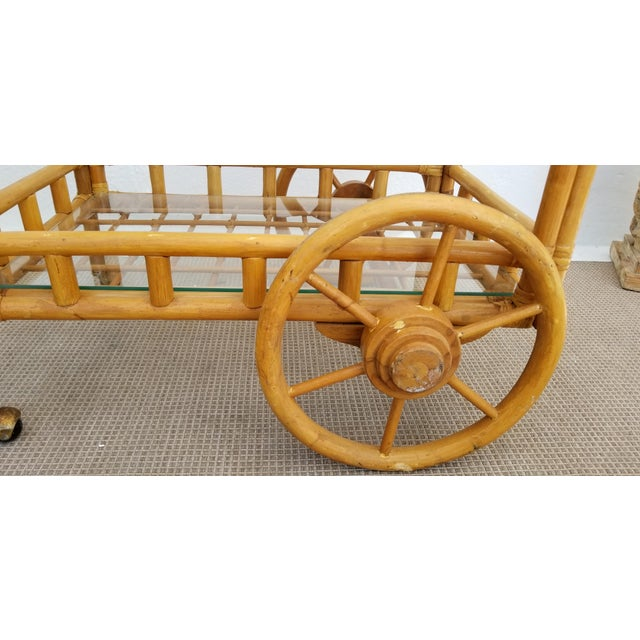 Vintage Boho Chic Rattan & Bamboo Rolling Bar Cart For Sale In Miami - Image 6 of 13