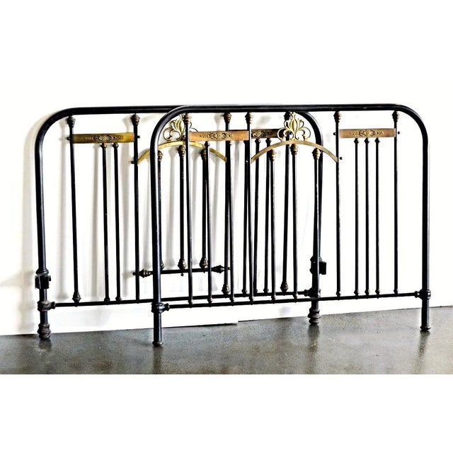 Antique Neoclassical Brass Mounted Iron Twin Bed Headboard Footboard