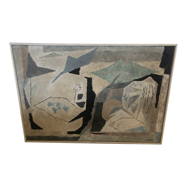 Mid-Century Modern Abstract in Soft Gray Black and Blue For Sale