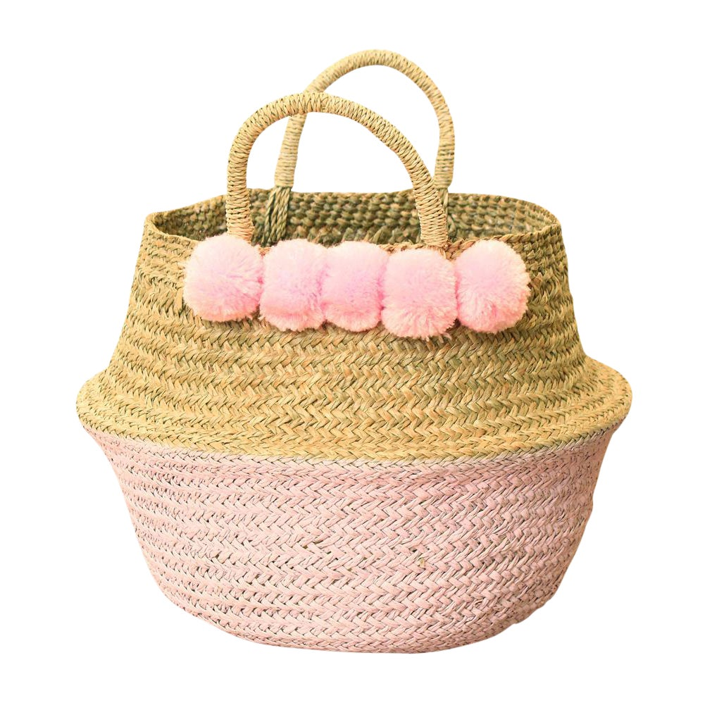 Double Woven Sea Grass Pastel Pink Pom Poms Belly Basket | Chairish