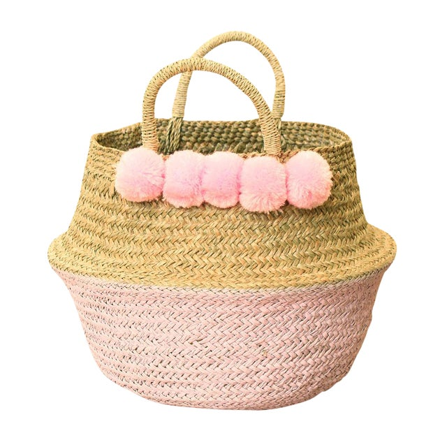 Double Woven Sea Grass Pastel Pink Pom Poms Belly Basket For Sale