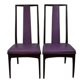 Fab Pair of John Stuart Grand Rapids Purple Leather High-Back Side Chairs - For Sale