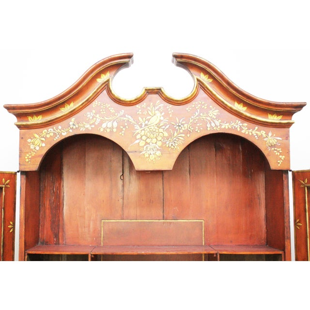 Georgian-Style Red Chinoiserie Secretary - Image 5 of 9