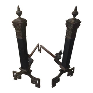 Victorian Iron Andirons - A Pair