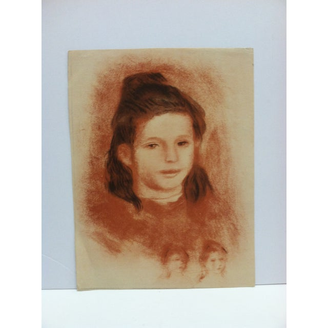 "Mid 20th Century 20th Century Original Drawing on Paper, ""Brown Haired Girl"" - Artist Unknown For Sale - Image 5 of 5"