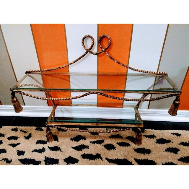 Dorothy Draper Hollywood Regency Wrought Iron Gold Gilt and Tassel Wall Double Shelf For Sale - Image 4 of 4