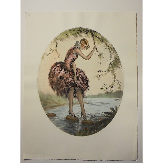 "This vintage hand colored engraving depicts an attractive woman in the ""roaring 20's"". Printed on one side only on..."