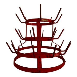 Antique French Red Wine Bottle Rack For Sale