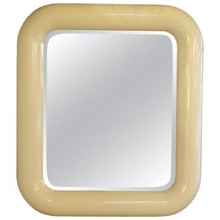 Rounded Edges Rectangular Goat-Skin Mirror For Sale