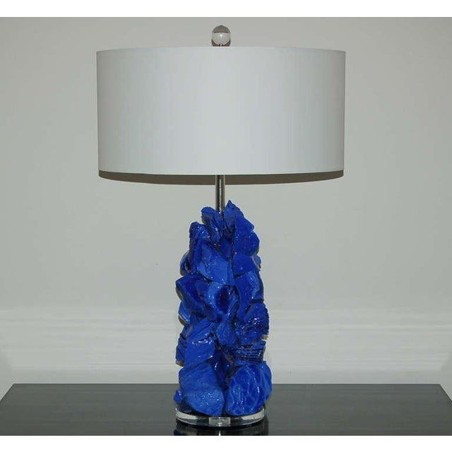 Contemporary Glass Rock Table Lamps by Swank Lighting Blue - a Pair For Sale - Image 3 of 10