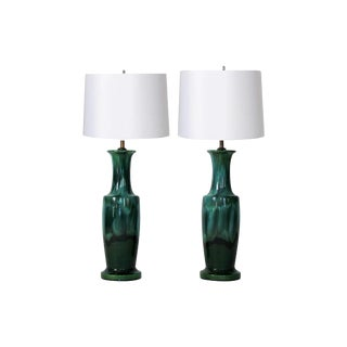 Pair of Green Drip Glaze Table Lamps For Sale