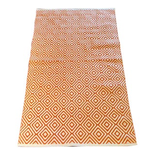 Orange and White Diamond Throw Rug - 3' x 5'