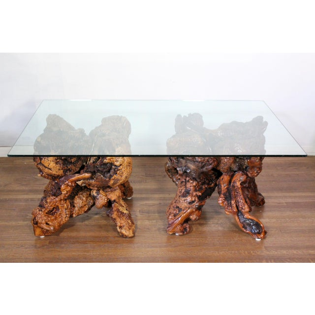 Brown 1970s Organic Modern Large Solid Redwood Burl Root Coffee Table For Sale - Image 8 of 8
