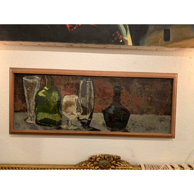 Mid 20th Century Bottles and Glasses Still Life Painting on Linen For Sale - Image 5 of 5