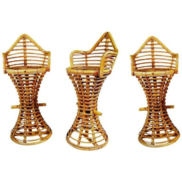 Restored Stick Rattan Bar Stools in the Manner of Albini, Set of Three - Image 2 of 6
