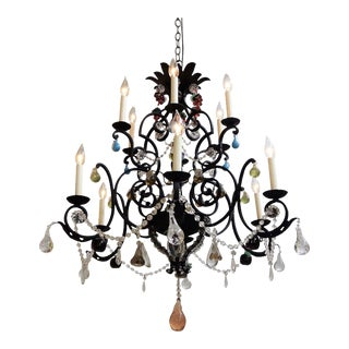 Circa Late 19th Century French Baroque Style Colonial Wrought Iron 14 Light Fixture For Sale