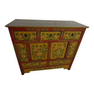 Red Oriental China Cabinet