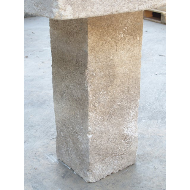 Carved Square Top French Limestone Bistro Table For Sale - Image 9 of 12