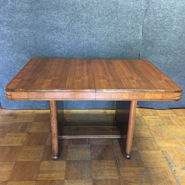 Walnut Art Deco Dining Table With Leaves - Image 3 of 9