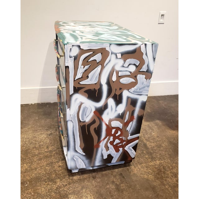 Graffitied Artist Painted Chest of Drawers For Sale - Image 9 of 10