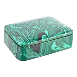 Faux Malachite Lidded Box For Sale